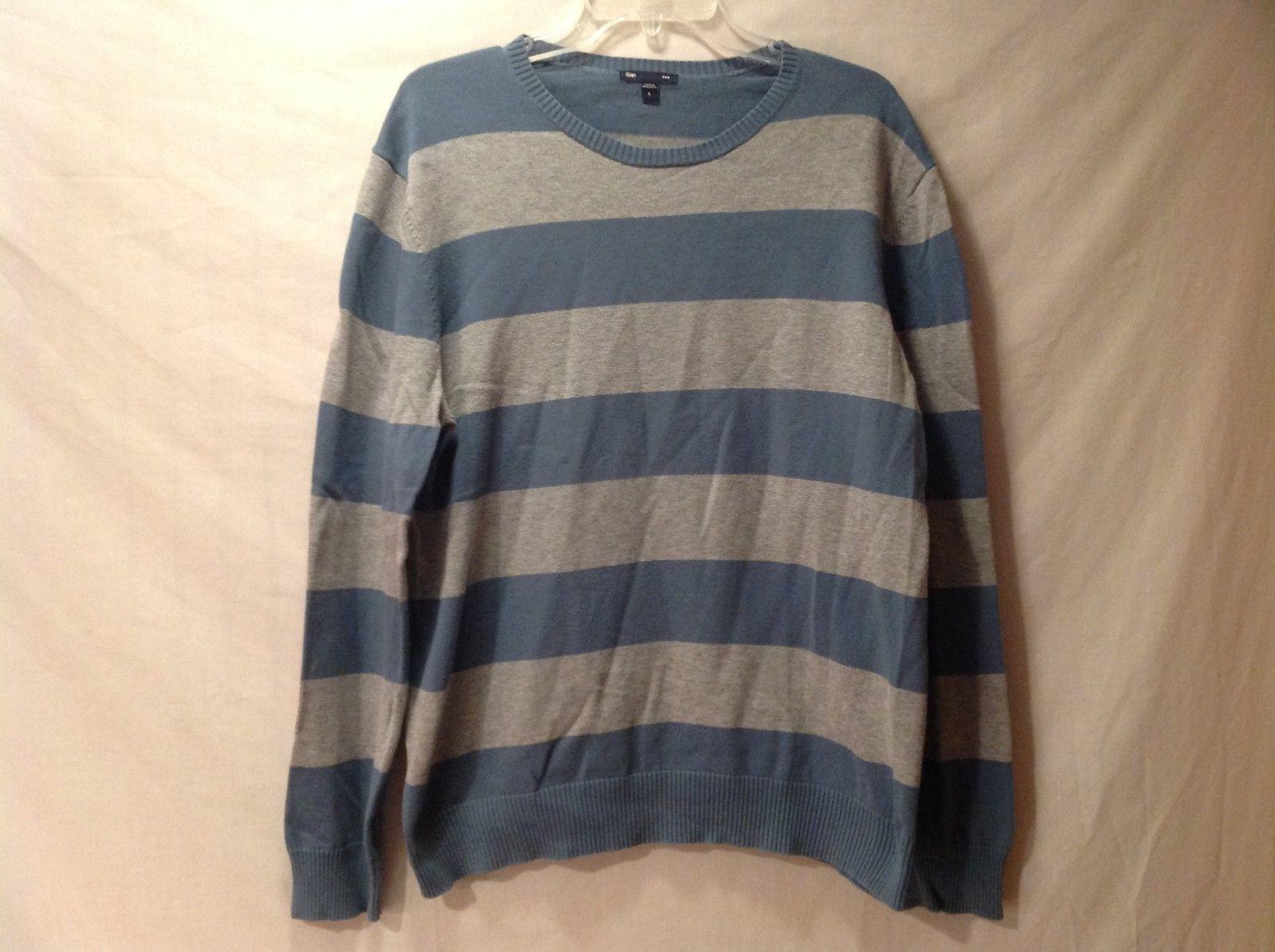 GAP Light Blue Gray Striped Long Sleeve Shirt Sz L