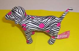 "Victoria's Secret Black White Zebra Pink Dots Plush 7"" Puppy Dog Pink - $7.59"