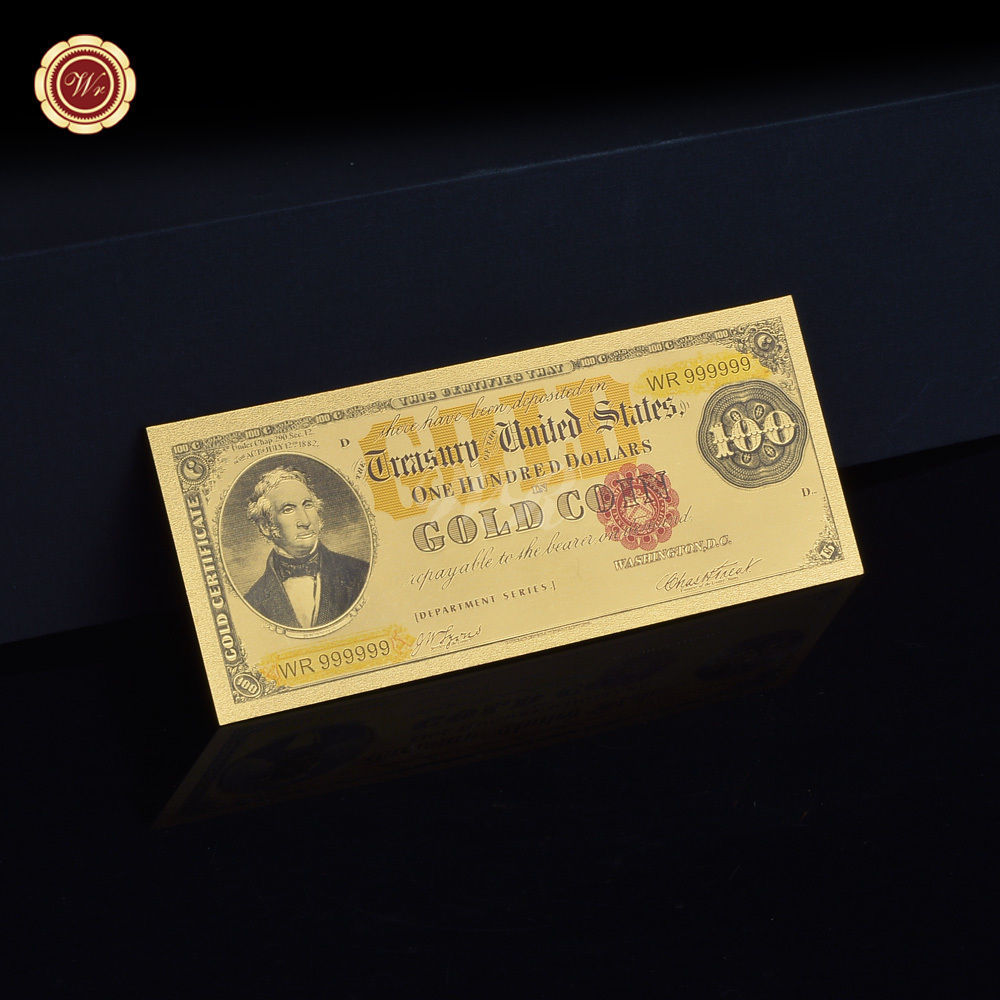 1882 $100 Gold Certificate Pure 999 Gold Plated Banknote