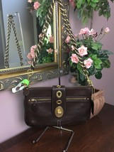 New Coach Evening Bag Legacy Brown Leather Turnlock F13756 Braided Strap... - $138.59