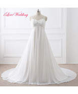 Stock Chiffon Pearls Sequined A-Line Wedding Dresses Formal Bridal Gowns... - $46.39+