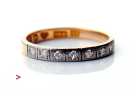 1948 Alliance Wedding Ring solid 18K Yellow Gold Diamonds US 6.25 /2.3 - $381.99