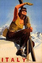 "WINTER SPORT WITH SUN ITALY SKI MOUNTAINS WOMAN SKIING TRAVEL 12"" X 16"" ... - $8.72"