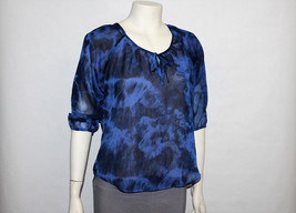 Womens Express Blue Floral Sheer Top Size XS - $17.82