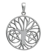 Silver Pentapha Tree of Life Pendant for Protec... - $35.95