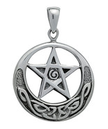 Silver Hecate's Crescent Star Pendant for Prote... - $34.44