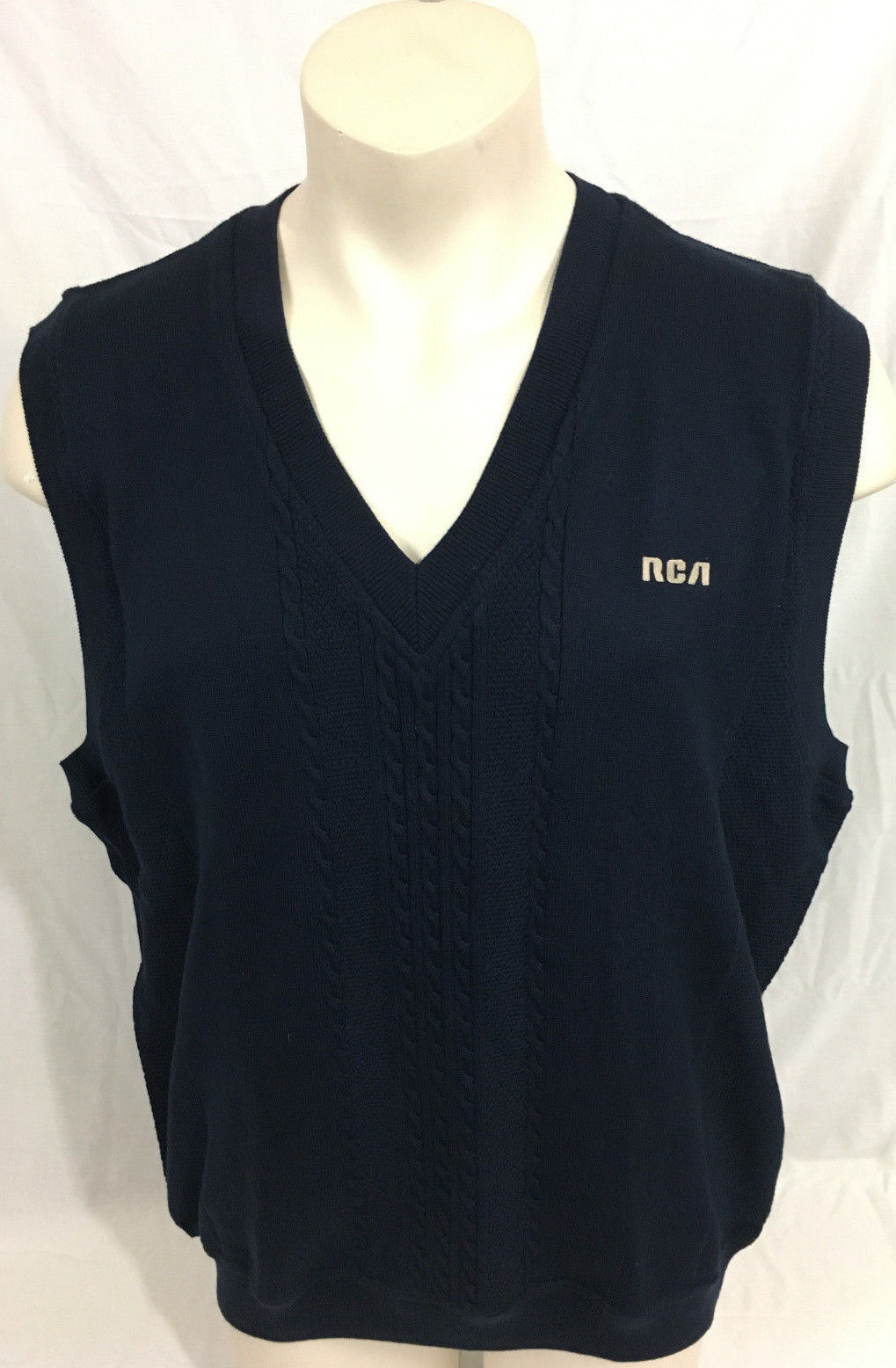 Cutter & Buck Dark Navy Vest RCA Cable Knit New With Tags Men's XL