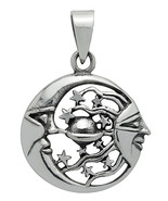 Silver Celestial Wonder Stars, Moon, Sun & Planets Pendant for Enlighten... - $34.21