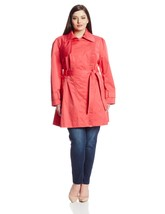 Jessica Simpson Women's Plus-Size Belted Ruffle Trench Coat, Coral, 1X - $99.99