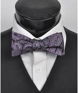 Men's Purple 100% Silk Woven Freestyle Bow Tie FBS3702 - $8.99