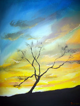 "ORIGINAL ACEO ""Sunset Landscape Tree Art #8 "" P... - $5.94"