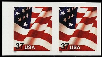 3629Fg, XF NH 37¢ USA Flag Imperforate Pair ERROR Cat $150.00  Stuart Katz