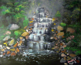"ORIGINAL ACEO ""Landscape Waterfall Art #14 "" Pr... - $5.94"