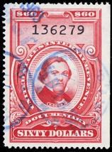 R726, Used XF $60 Documentary Revenue Stamp - Stuart Katz - $17.00