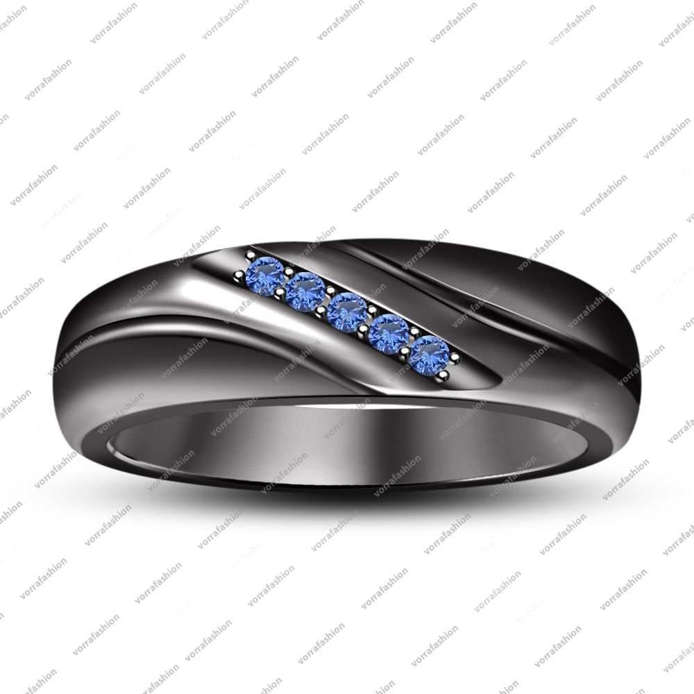 Primary image for Men's Round Cut Blue Sapphire Wedding Engagement Band Ring Black Gold 925 Silver