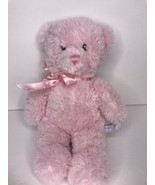 "Aurora Baby 12"" Pink teddy Bear Soft Sewn Eyes Pink Polka Dot Bow Plush - $16.39"