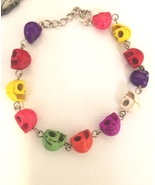 goth turquoise stone skull beaded chain bracelet multicolor day the dead... - $6.99