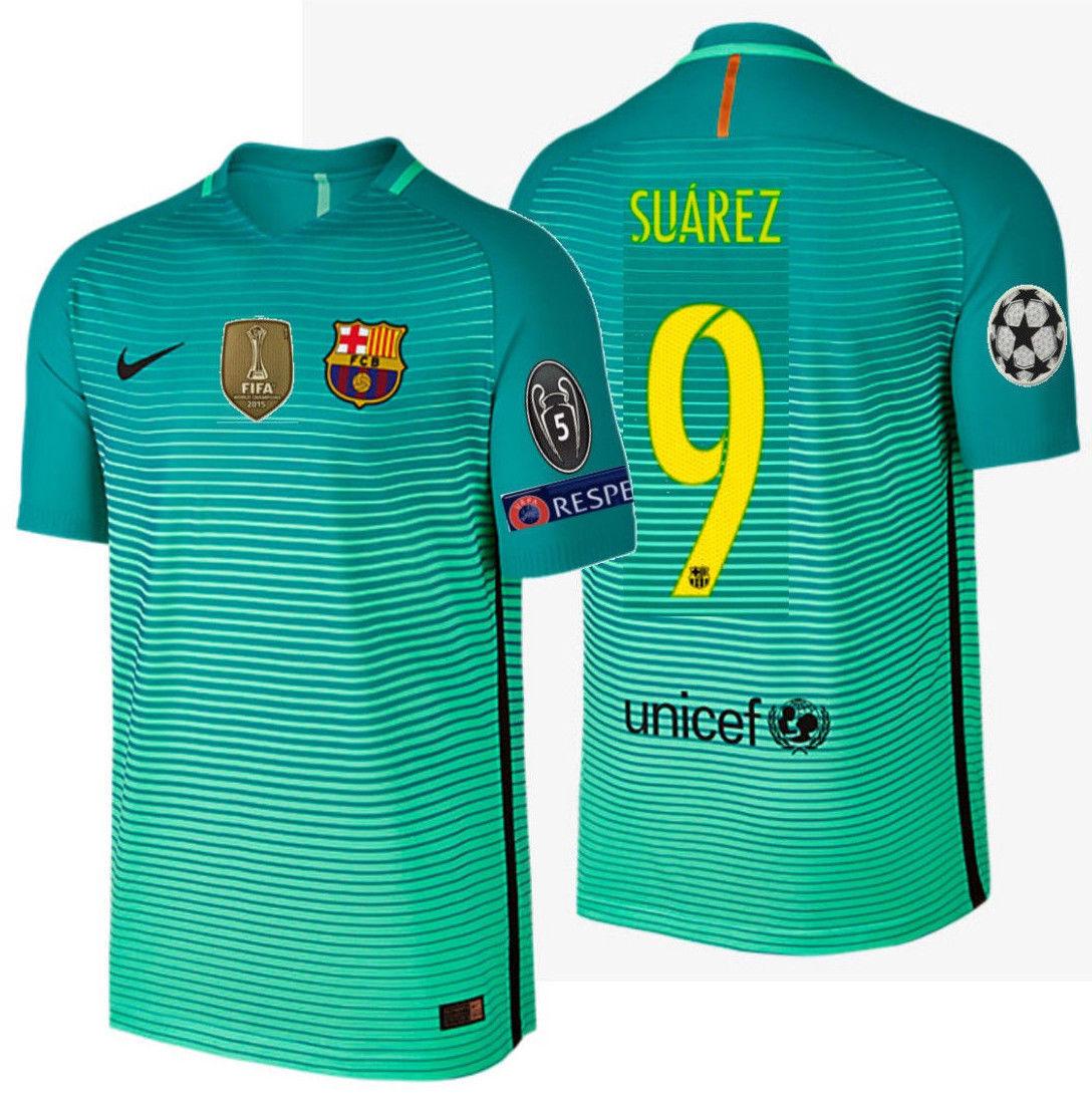 34a41c4acba 57. 57. Previous. NIKE LUIS SUAREZ FC BARCELONA AUTHENTIC VAPOR MATCH UCL  THIRD JERSEY 2016 17.