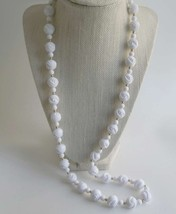 Vintage White PlasticSwirl Knots Long Necklace ... - $5.90