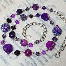 Purple Howlite Skull Necklace with Glass, Acrylic, and Stone Accents - $45.00