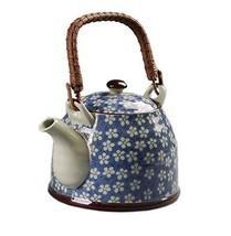 Japanese Style Porcelain Teapot, Plum Blossom 30 OZ, BLUE