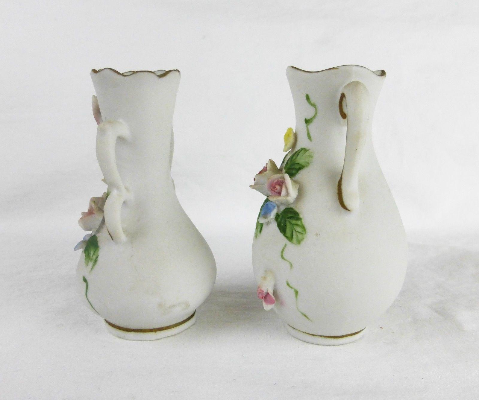 Vintage Lefton China bud vase hand painted porcelain home decor Japan set of 2