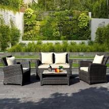 4 Piece Brown Wicker Outdoor Patio Seat Sofa Furniture Set With Beige Cu... - €444,26 EUR