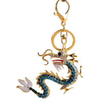 Cool Blue Crystal Dragon Keychain Charm pendant... - $3.37