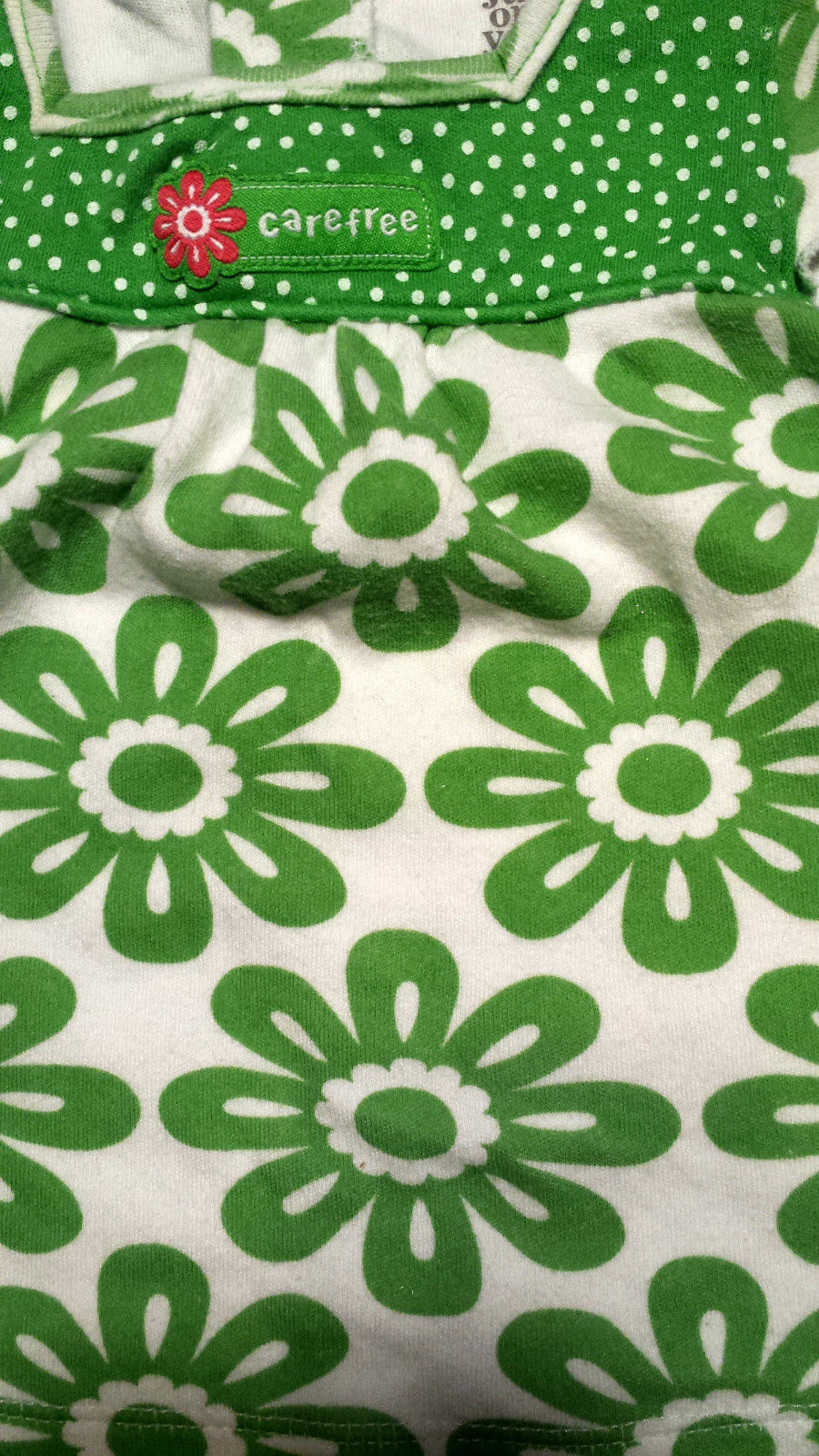 Girl's Size 3 M 0-3 Months 2 Pc Carter's Green/ White Floral Carefree Dress & DC