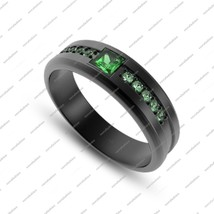 Green Sapphire Black Gold Plated 925 Sterling Silver Wedding Ring & Free... - ₨6,135.59 INR
