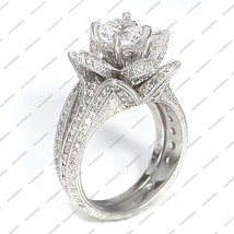 Fashion Lady's Round Cut CZ 14k White Gold Plated 925 Silver Engagement Ring Set - $112.99