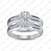 Delightful Round Cut White CZ .925 Silver Solitaire w/ Accent Bridal Ring Set - $86.99