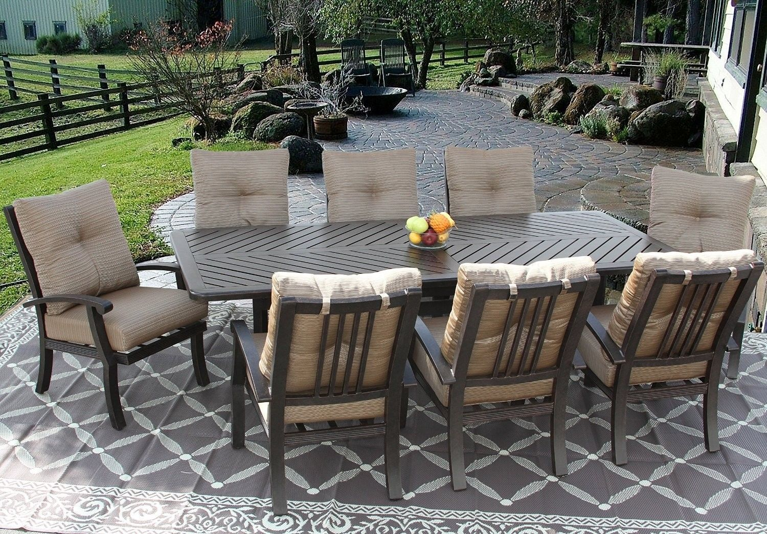 PATIO 9PC DINING SET FOR 8 PERSON WITH 44X86 RECTANGLE SERIES 4000 TABLE