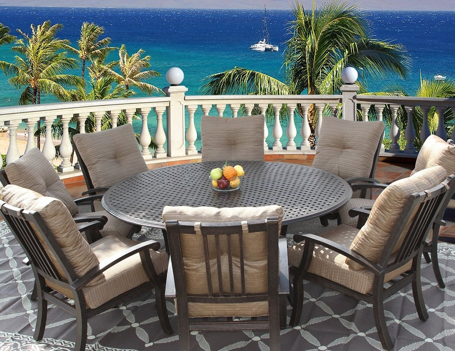"""PATIO 9PC DINING SET FOR 8 PERSON WITH 71"""" ROUND SERIES 5000 TABLE"""
