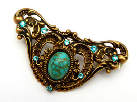 Barrette antique-style with turquoise Baroque B... - $39.00