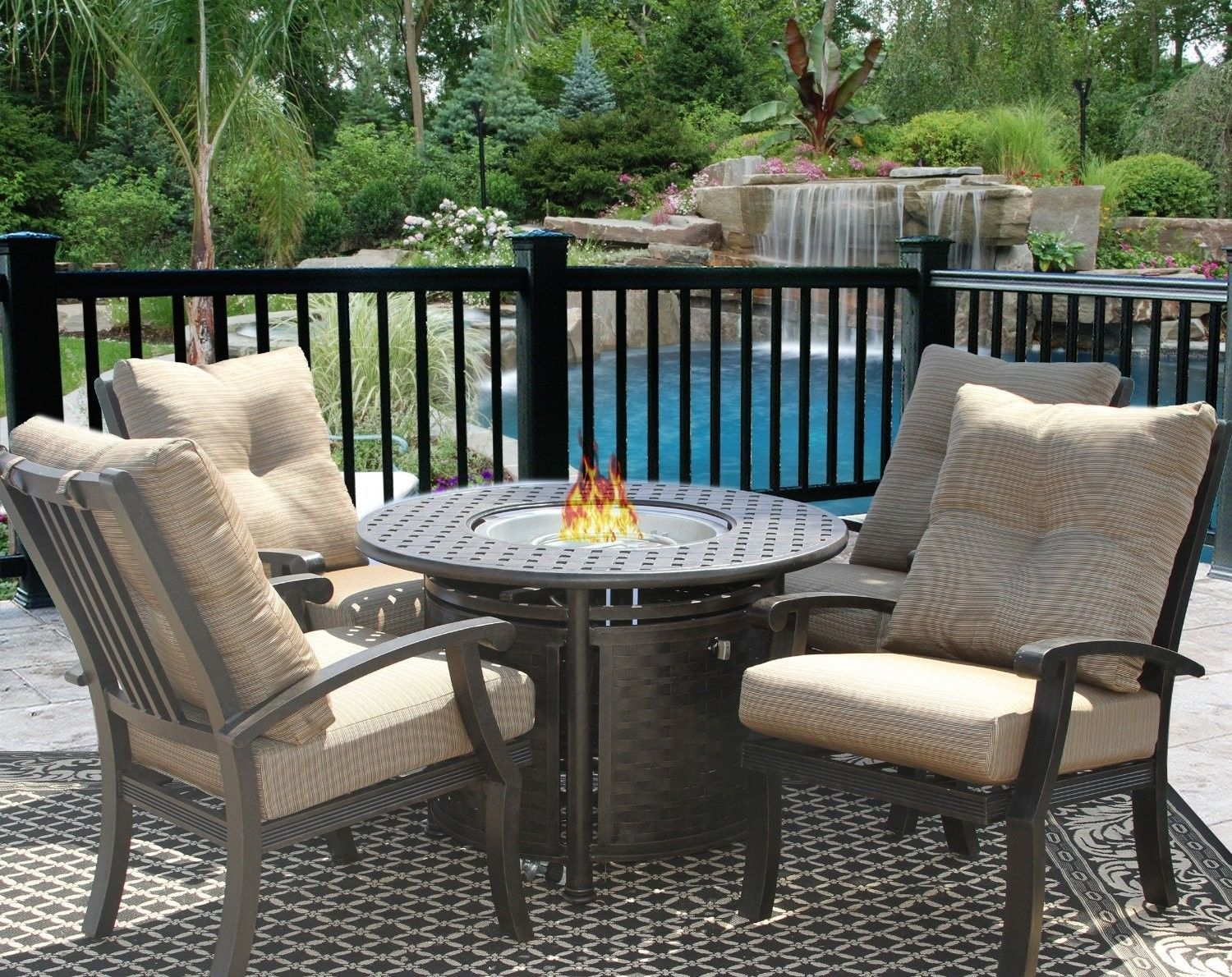 """PATIO 5PC DINING SET FOR 4 PERSON WITH 42"""" ROUND FIRE TABLE SERIES 7000"""
