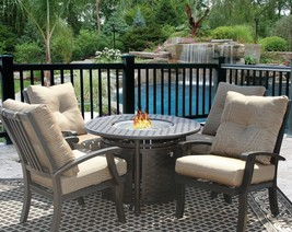 "PATIO 5PC DINING SET FOR 4 PERSON WITH 42"" ROUND FIRE TABLE SERIES 7000 - $3,232.35"