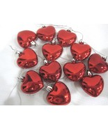 """Valentines Day Pink Shiny Red Hearts 2"""" Ornaments Decorations Set of 12 - $15.99"""