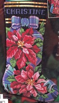 Bucilla Poinsettia Christmas Flower Longstitch Needlepoint Stocking Kit ... - $117.95