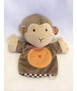 "Carters Plush Crinkle Ear Monkey Hand Puppet Brown Orange Circle Tummy 9"" - $9.99"