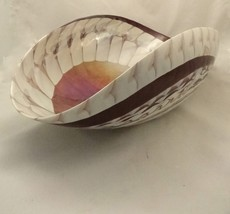Murano Glass Plum and Ivory Folded  Bowl - $289.00