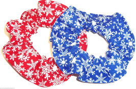 Winter Snowflake Red Blue Hair Scrunchie Fabric Scrunchies by Sherry Lot of 2 - $12.95