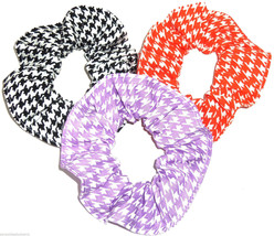 Houndstooth Print Hair Scrunchie Scrunchies by Sherry Ponytail Holder Ties - $6.92+