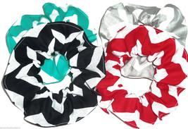 Wide Chevron Print Hair Scrunchie Scrunchies by Sherry Ponytail Holder Ties - $6.92+