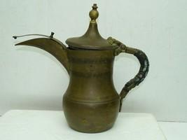 Antique Large Brass Islamic Bedouin Dallah Coffee Pot Arabesque Writing,... - $245.00