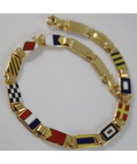 MASSIVE SOLID 18K YELLOW GOLD BRACELET WITH GLAZED NAUTICAL FLAGS, MADE IN ITALY - $1,310.00