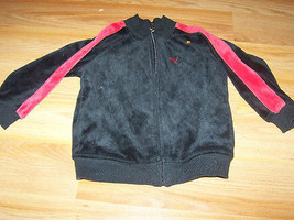 Baby Size 24 Months Puma Zip Up Velour Jacket Black with Red Accent EUC - $14.00