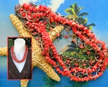 Vintage Red Coral Chips Necklace Copper Rings Links Multi Four Strand