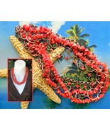 Vintage Red Coral Chips Necklace Copper Rings Links Multi Four Strand - $64.95