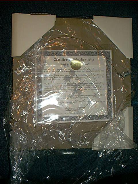 Winnie the Pooh framed CHRISTMAS STAMP + Disney Store bag